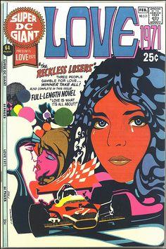 "SUPER DC Giant presents ""Love finished comic cover and its original illustration board, 1971 Illustration by Charlie Armentano Romance Comics, Comics Love, Dc Comics, Vintage Romance, Hippie Art, Portraits, Psychedelic Art, Pulp Fiction, Comic Covers"