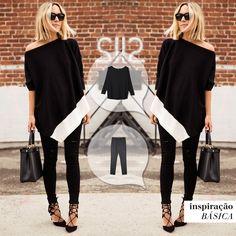 Quando falta inspiração, a melhor saída é um look all black: simples, fácil e lindo!#inspiraçãobásica #calçacartagena #blusahungria