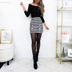 Lilli Houndstooth Skirt Thick Tweed, Winter Outfits, Back in stock yay! Cheap Summer Outfits, Casual Fall Outfits, Winter Fashion Outfits, Classy Outfits, Chic Outfits, Trendy Outfits, Winter Outfits With Skirts, Black Outfits, Fashion Sale