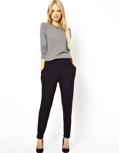 love peg pants for fall. ASOS Peg Trousers in Navy