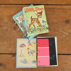 DIY notebooks from old kids books!! I WANT TO TRY THIS!!