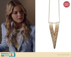 Ali's gold triangle necklace on Pretty Little Liars.  Outfit Details: http://wornontv.net/34899/ #PLL