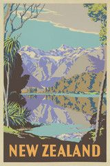 Lake Matheson Tourist Print
