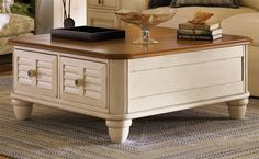 Salt Aire Square Coffee Table w Storage in Two Tone - Bob Timberlake