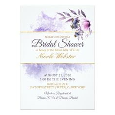 Lavender Poppy Watercolor Wedding Bridal Shower Card - floral style flower flowers stylish diy personalize