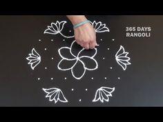 Daily Rangoli Design/Colour Rangoli/ Lotus Rangoli/ Simple and Easy Rangoli Design/ 9 Dots Kolam
