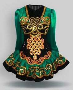 Gold & Green Irish Dance Solo Dress by Elevation design #Irish_Dancing