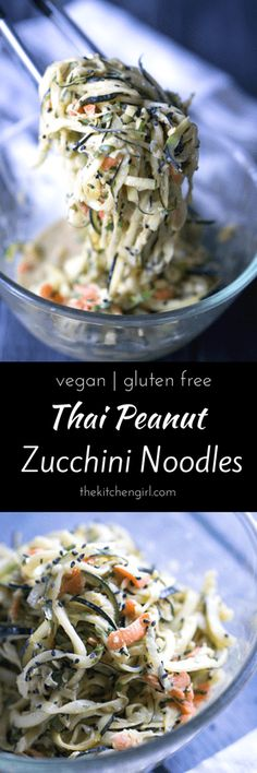 Easy, scrumptious, ready in 30! Vegan Thai Peanut Zucchini Noodles made with carrots and onions tossed in a spicy peanut butter sauce. Thekitchengirl.com