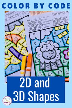Second and third grade students will enjoy classifying 2-D and 3-D shapes by their angles, faces, vertices and edges with this color by number activity. With 12 pages of practice, students will quickly master this skill. Teaching Shapes, Primary Teaching, Teaching Kindergarten, Kindergarten Worksheets, Shape Worksheets For Preschool, Shapes Worksheets, Number Activities, Third Grade Math, Second Grade