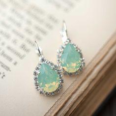 Opal Silver Estate Style Vintage Earrings Wedding Jewelry Mint Green Earrings Bridal Earrings Bridesmaids Gift Dangle Earrings on Etsy, $44.00