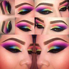 Neon rainbow eye makeup
