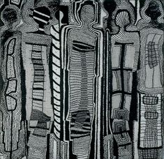I really like the monochrome black and white colours rather than the traditional bright colours. I like how the lines are loose and looks as if a sketch. It looks like a tribal painting with mysterious figures and shapes.