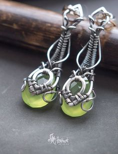Sterling silver wire wrapped earrings with green chalcedony