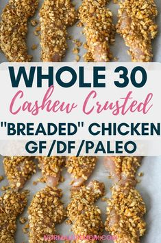 "My favorite Whole 30 dinner recipe, when I am craving ""breaded"" chicken but can't have it. The crust is crunchy layers of cashews cooked to perfection. A delicious whole 30 dinner recipes your whole family will love. This is also gluten free and dairy free #whole30 #whole30dinnerrecipes #paleorecipes #glutenfree #recipesglutenfree #glutenfreechickenrecipes #easyglutenfreerecipes #glutenanddairyfreerecipes #chickendinner #healthydinner #paleoglutenfreerecipes Whole30 Dinner Recipes, Paleo Chicken Recipes, Delicious Dinner Recipes, Paleo Recipes, Real Food Recipes, Healthy Chicken, Kitchen Recipes, Icing Recipes, Chickpea Recipes"