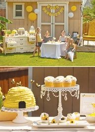 Bee Tea Party  I love the bee hive cake :)