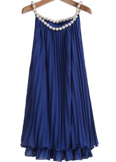 Blue Bead Pleated Chiffon A Line Dress pictures