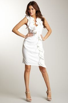 """For the quaint, simple outdoor wedding ~ magnolia white, tiered/ruffled front trim, sleeveless, hidden side zipper, 41"""" in length"""