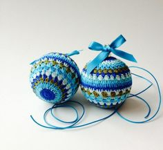 2 Crocheted Baubles Christmas Tree Decirations Blue And Green Shades £6.00