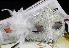 White Lace with Rhinestone Liles Venetian Mask Masquerade Halloween Costume from Y2B by mask, http://www.amazon.com/dp/B00CY5NIY4/ref=cm_sw_r_pi_dp_xGeesb01MQFV8