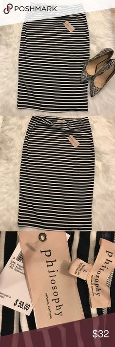 New with tags Philosophy striped skirt size large New with tags philosophy striped long skirt size large, bundle with my other listings for extra savings Philosophy Skirts Pencil