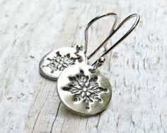 Silver Snowflake Earrings - Sterling Silver PMC Metal Clay Fine Silver Earrings Gift under 30