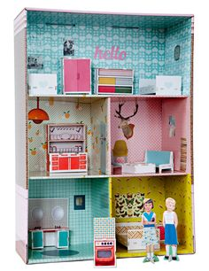cardboard doll house and paper dolls. Kids Doll House, Paper Doll House, Toy House, Paper Dolls, Cardboard Dollhouse, Cardboard Crafts, Diy Dollhouse, Dollhouse Furniture, Castle Dollhouse