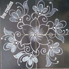 Small Rangoli Design, Beautiful Rangoli Designs, Kolam Designs, Rangoli Ideas, Simple Rangoli, Alpona Design, Muggulu Design, Silk Fabric, Blouse