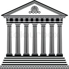 Greek temple stencil third variant with filigree ornament | Vector ...