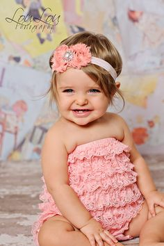 Light pink lace petti romper by IzzysAttic on Etsy