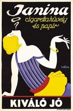 Janina Cigarette Paper | by Rendbezsoli Vintage Advertising Posters, Vintage Advertisements, Vintage Ads, Vintage Posters, Retro Posters, Retro Illustration, Retro Ads, Ad Art, Vintage Magazines