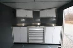Nose Enclosed Trailer Cabinets and how to design your home design . Enclosed Trailer Cabinets, Enclosed Trailer Camper, Enclosed Cargo Trailers, Cargo Trailer Camper, Utility Trailer, Camper Trailers, Trailer Organization, Trailer Storage, Camper Storage