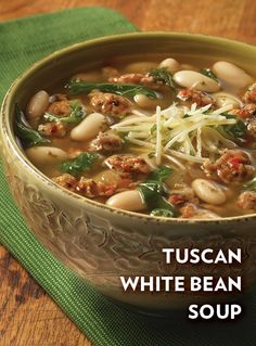 In this tasty Tuscan White Bean Soup recipe, sausage, white wine and kale ingredients combine with Swanson's Tuscan Chicken Flavor Infused Broth and simmer to perfection. It's delicious!