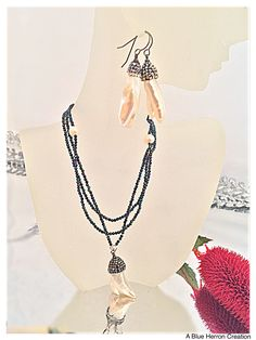 8683d747b Vintage Freshwater Pearls Necklace Set, Marcasite Crystals Black Spinel  Beads, Natural Pearls Pendant & Sterling Silver 925 Earrings SET