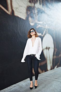 Try an unbuttoned down-to-there shirt for a party or a girls' night out. // #OutfitIdeas