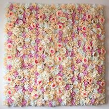 40X60 cm Soie Artificielle Rose Fleur Décoration Murale Décorative Soie Hortensia Décoration De Mariage Toile de Fond usine en gros(China)