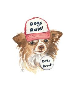 Chihuahua Watercolor - Original Painting, Trucker Hat, Dog Watercolour, 8x10 Watercolor