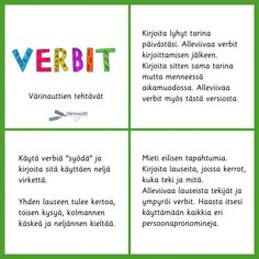 Sanaluokat - Värinautit Learn Finnish, Finnish Language, Primary English, Grammar, Literacy, Homeschool, Classroom, Teaching, Writing