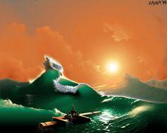green sea and orange sky - pixel art from old Amiga 1200 256 color - Demoscene