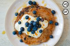 Find a delicious vegan pancake recipe with blueberries from Jamie Oliver; a brilliantly simple recipe for vegan pancakes at any time of the day! Vegan Pancake Recipes, Vegan Pancakes, Blueberry Pancakes, Vegan Recipes, Protein Pancakes, Vegan Blueberry, Blueberry Recipes, Fruit Recipes, Vegan Sausage Rolls