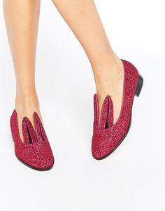 Image 1 ofMinna Parikka Pink Glitter Bunny Ear Loafers