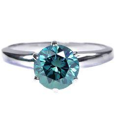 Diamantring / Diamantarmband / Diamantschmuck: 1.00 Karat blauer Solitär Diamantring aus 585er We...