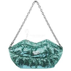 2aea96acd3 Sonia Rykiel Pochette Bouche sequins verts Sacs À Main De Luxe, Sac A Main,