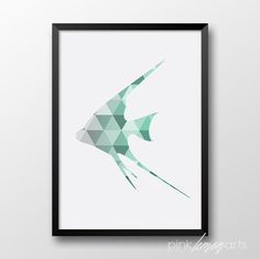 Mint Geometric fish Scandinavian decor Printable by PinkLemonArts