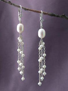 White Pearl Multi Dangle Earrings| Handmade Bridal Jewelry| Fashion Designer Jewelry