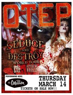 Otep got their start in late 2000, when singer/band namesake Otep Shamaya brought her Marilyn Manson-meets-Kim Gordon style of singing to a crew of musicians known only as Rob, Moke, and eViL j. The foursome began gigging around Los Angeles and scored a deal with Capitol solely on the strength of their live show (they'd not yet recorded a demo). Spots on prominent tours such as Ozzfest and kudos from Marilyn Manson helped the band build a rabid following with Sevas Tra, their 2002 debut…