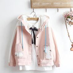 Material: CottonColor: jacket + shirt, jacket, shirtSize: S, M, LcoatS: Bust sleeve length shoulder width length hem circumference Bust sleeve length shoulder width length hem circumference Bust sleeve length shoulder width length Cute Casual Outfits, Pretty Outfits, Stylish Outfits, Girls Fashion Clothes, Teen Fashion Outfits, Kawaii Fashion, Cute Fashion, Aesthetic Fashion, Aesthetic Clothes