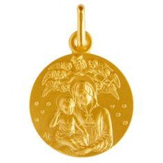Médaille de bapteme en or, medaille Vierge à l'enfant Reine des cieux