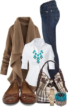 Love this outfit,,especially the sweater.not sure if i would like the white shirt on myself though