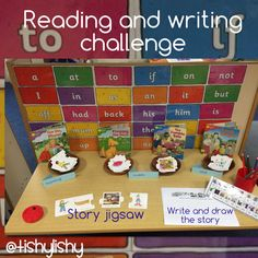Reading and writing challenge. Use jigsaw pieces to make a story. Draw and write… Writing Corner, Writing Area, Writing Table, I Love School, New School Year, Pre School, Phonics Activities, Educational Activities, Early Years Classroom