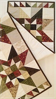 Primitive Quilt Pattern Table Runner Wall Hanging PDF Star Summer Fall Scrappy French Country Farmhouse Decor Wal Download